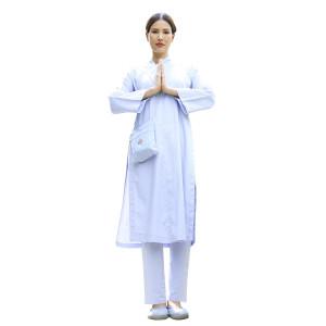 Áo tràng Pháp phục Nguyên Dung cho Nữ, thiết kế truyền thống, Silk Lụa ATTT 38E 0006